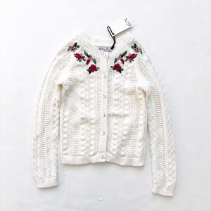Dex NWT floral embroidered knit cardigan 5T